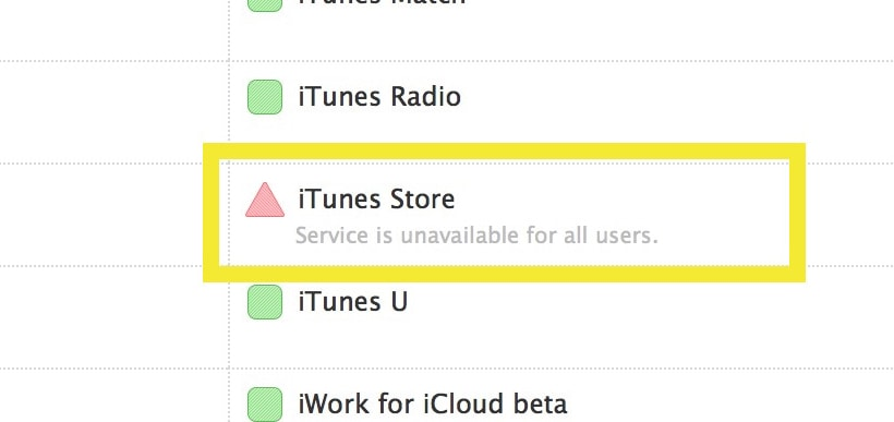 iTunes reported to be unavailable