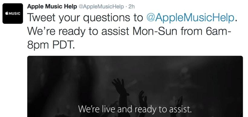 Apple Music Now on Twitter @AppleMusicHelp